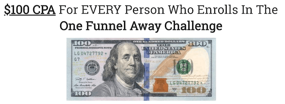100 dollar for one funnel away challengers